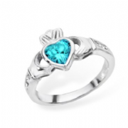 Sterling silver rubover set blue topaz cubic zirconia claddagh ring